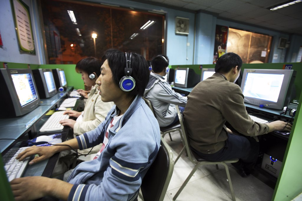 China, Beijing, internet cafe : Stock Photo