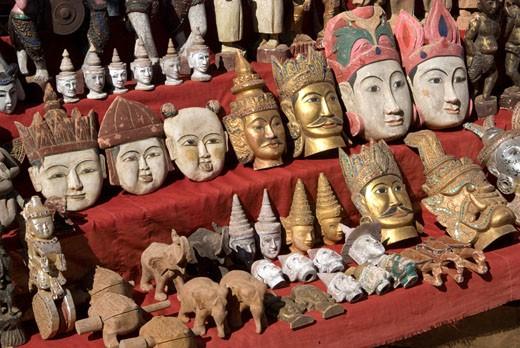 Burma, souvenir shop, masks : Stock Photo