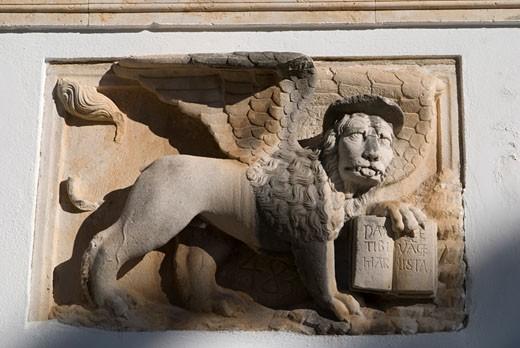 Croatia, Hvar, sculpture of lion : Stock Photo