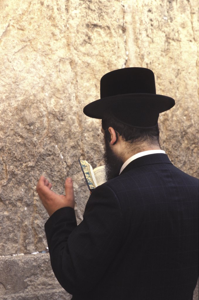 Israel, Judée, Jérusalem, Orthodox Jew praying at the Western wall : Stock Photo