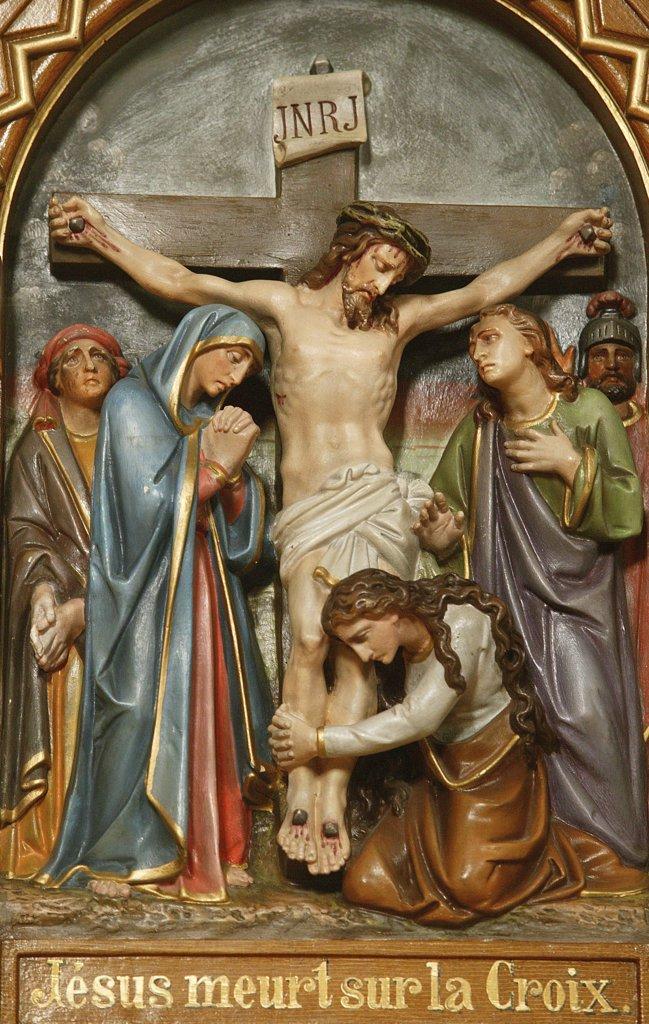 Stock Photo: 1606-78588 France, Haute Savoie, Notre Dame de la Gorge, Baroque church of Notre Dame de la Gorge.  Death of Jesus