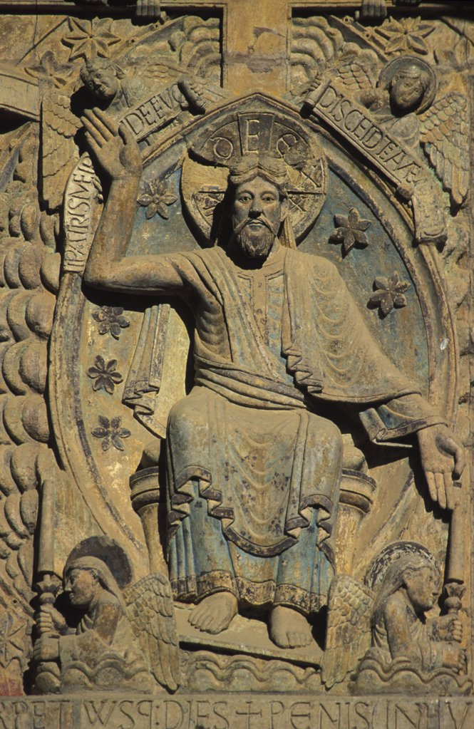 Stock Photo: 1606-78672 France, Aveyron, Conques, Sainte Foy church tympanum : The last judgment