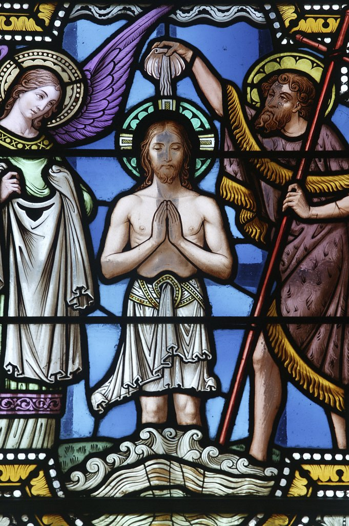 Stock Photo: 1606-78717 France, Bourgogne, Paray le Monial, Christ's baptism. Paray le Monial basilica