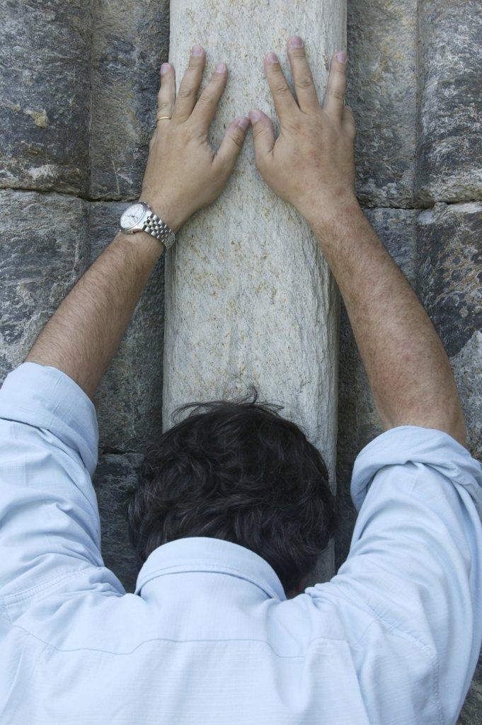 France, Pyrénées, Saint Savin, Christian prayer : Stock Photo