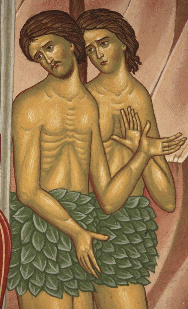 France, Drôme, Saint-Laurent-en-Royans, Adam and Eve. Saint-Antoine-le-Grand  orthodox church : Stock Photo