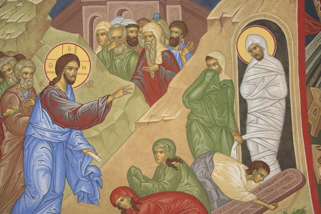 Stock Photo: 1606-78978 France, Drôme, Saint-Laurent-en-Royans, Lazare's resurrection. Saint-Antoine-le-Grand  orthodox church