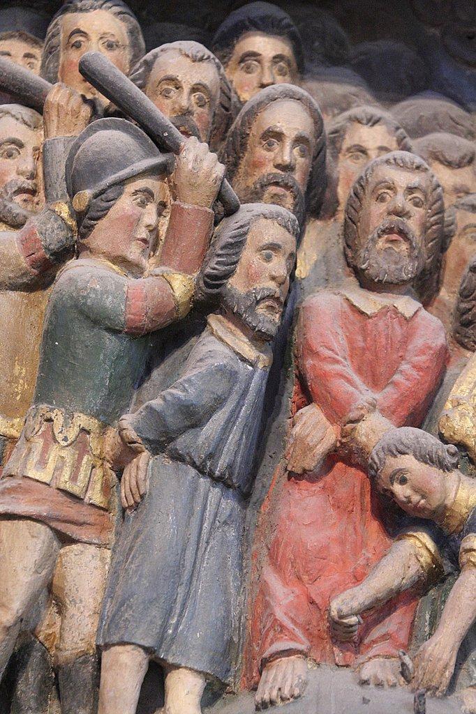 France, Finistère, Crozon, 10,000 martyr retable in Crozon church : Stock Photo