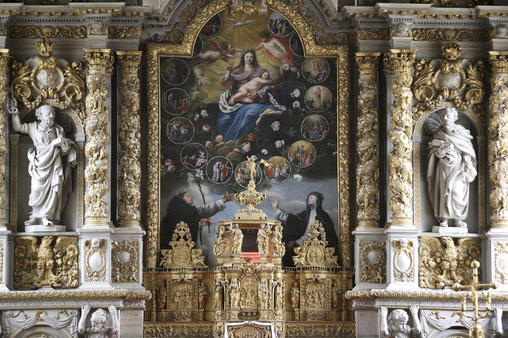 Stock Photo: 1606-79275 France, Finistère, Roscoff, Retable in Notre-Dame de Croas-Batz church