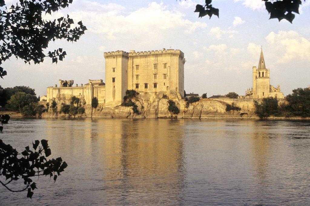 France, Alpes Provence cote d'Azur, Provence, Bouches du Rhône, Tarascon castle (15th century) and Rhone river : Stock Photo