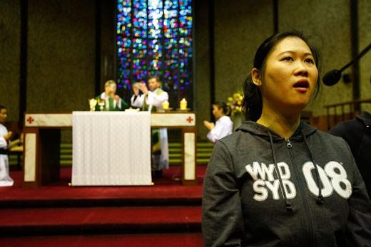 Australia, World Youth Day. Sydney 2008. Mass in a catholic parish. : Stock Photo