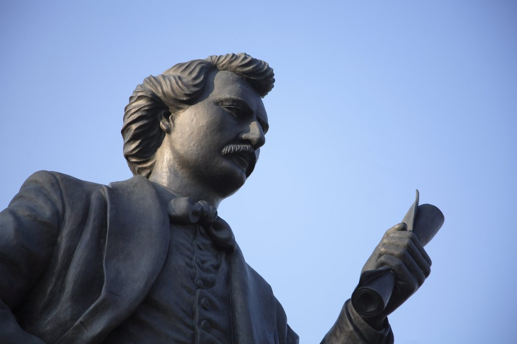 Stock Photo: 1606-82355 Canada, Manitoba, Winnipeg, statue of Louis Riel