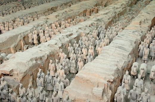 China, Shaanxi, Xian, Terracotta army in Qin Shi Huang mausoleum : Stock Photo