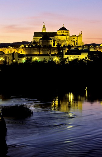 Spain, Andalusia, Cordoue, Mezquita Cathedral and Guadalquivir on the foreground : Stock Photo