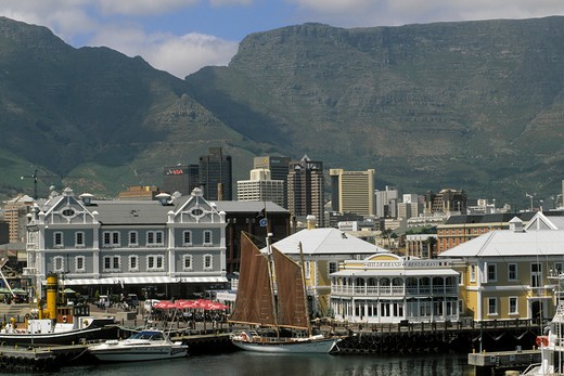 South Africa, Western Cape, Cape Town, Table Mountain, Victoria & Alfred Waterfront : Stock Photo