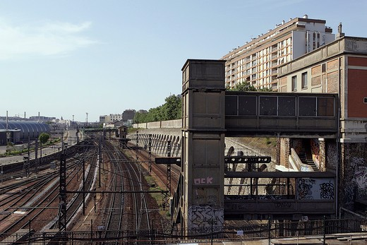 Stock Photo: 1606-84647 France, Paris suburb, railway tracks