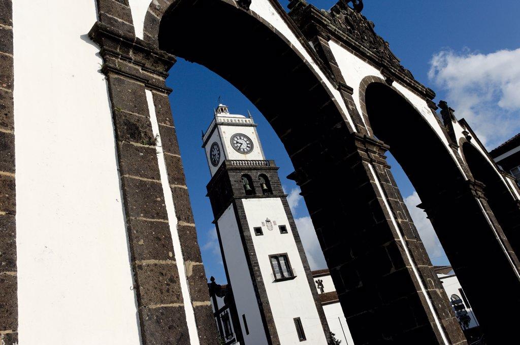 Stock Photo: 1606-85449 Azores, S. Miguel island, Ponta Delgada city, the three arches, symbolic old gates of the city