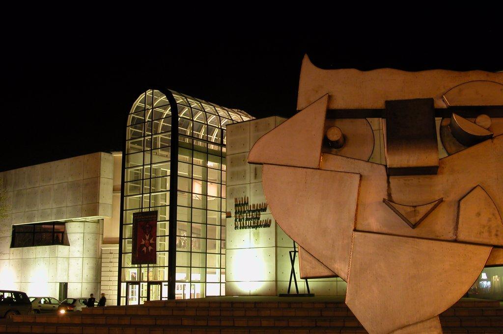 France, Lorraine, Vosges, Epinal, muse des Arts Anciens et Contemporains, by night : Stock Photo