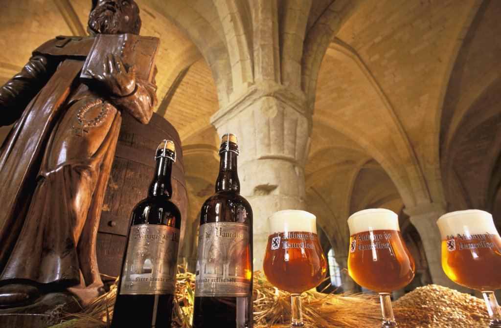 France, Nord, Vaucelles abbey beer : Stock Photo