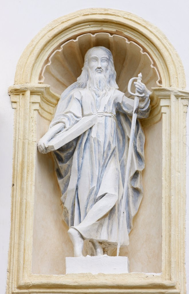 Stock Photo: 1606-88689 France, Saint-Nicolas-de-Vroce, Statue of Saint-Paul in Saint-Nicolas de Vroce church