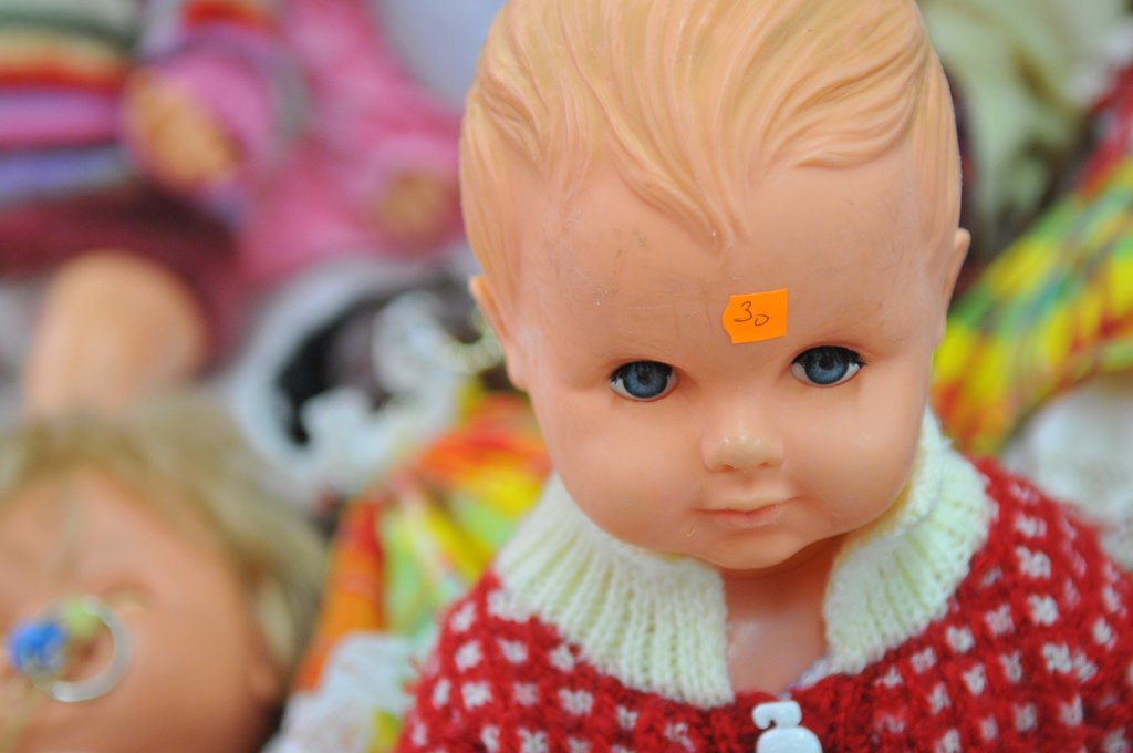 France, Paris, Toys sold at Emmaus annual fair : Stock Photo