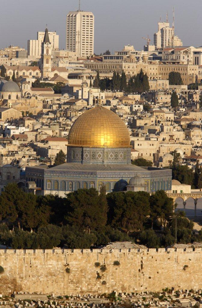 Israel, Jerusalem, Jerusalem seen from Mount of Olives : Stock Photo
