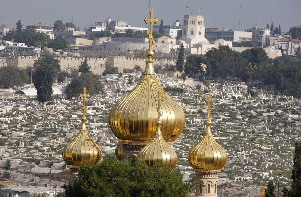 Stock Photo: 1606-89327 Israel, Jerusalem, Mary Magdalene Russian orthodox church on Mount of olives