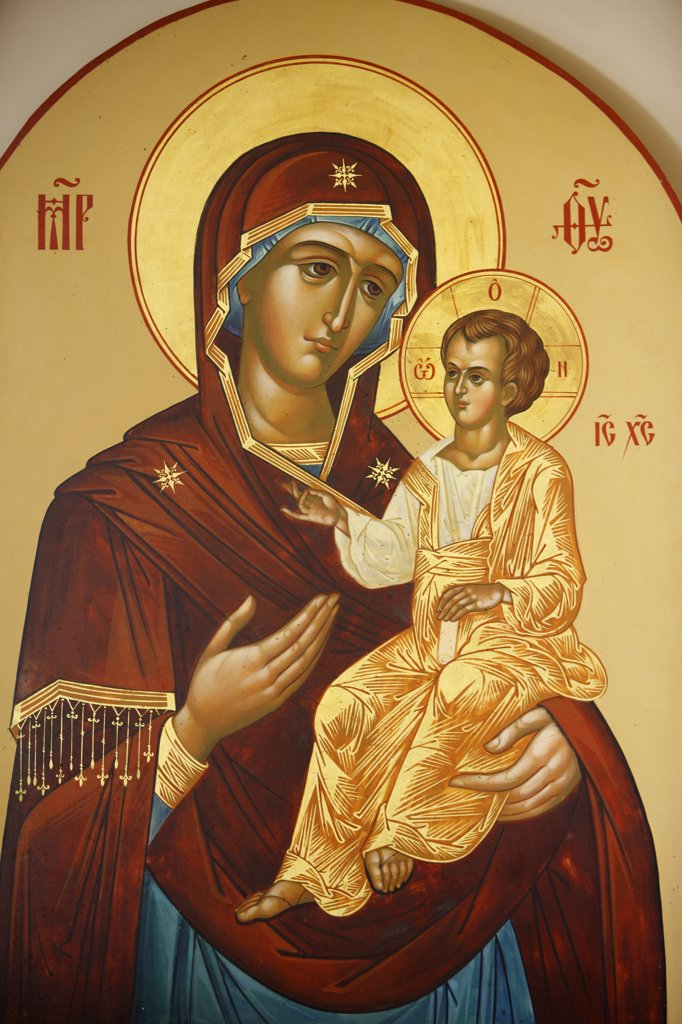 Israel, Jerusalem, Icon in Mary Magdalene Russian orthodox church on Mount of olives : Virgin and child : Stock Photo