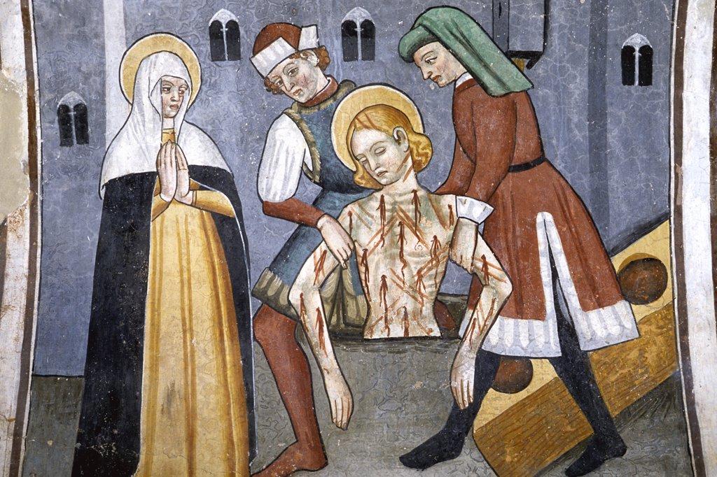 Stock Photo: 1606-90605 France, Provence Alpes cote d'azur, Provence, Alpes-Maritimes, Venanson (Vesubie valley), Saint Sebastien chapel , painting from 15th century