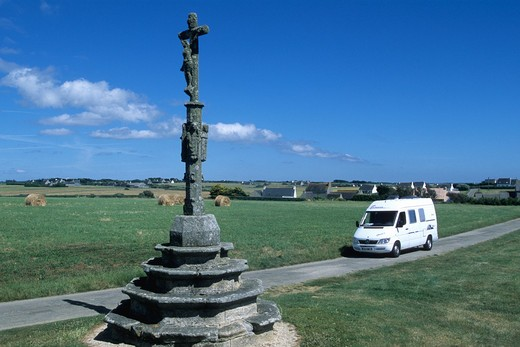 France, Brittany, Finistere(29), Bigouden country, Penhors, Notre Dame de Penhors calvary : Stock Photo