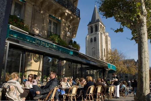 France, Paris, St Germain des Prs, cafe terrace (Les 2 magots) : Stock Photo