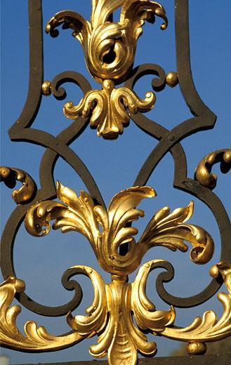 Stock Photo: 1606-9487 54.Nancy, Place de la Carrière, grille de Jean Lamour, détail des dorures. (18ème siècle) inscrit au patrimoine mondial de l'Humanité.