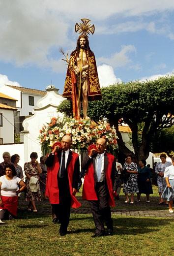 Azores, Pico island, Bom jesus procession at San Mateus : Stock Photo
