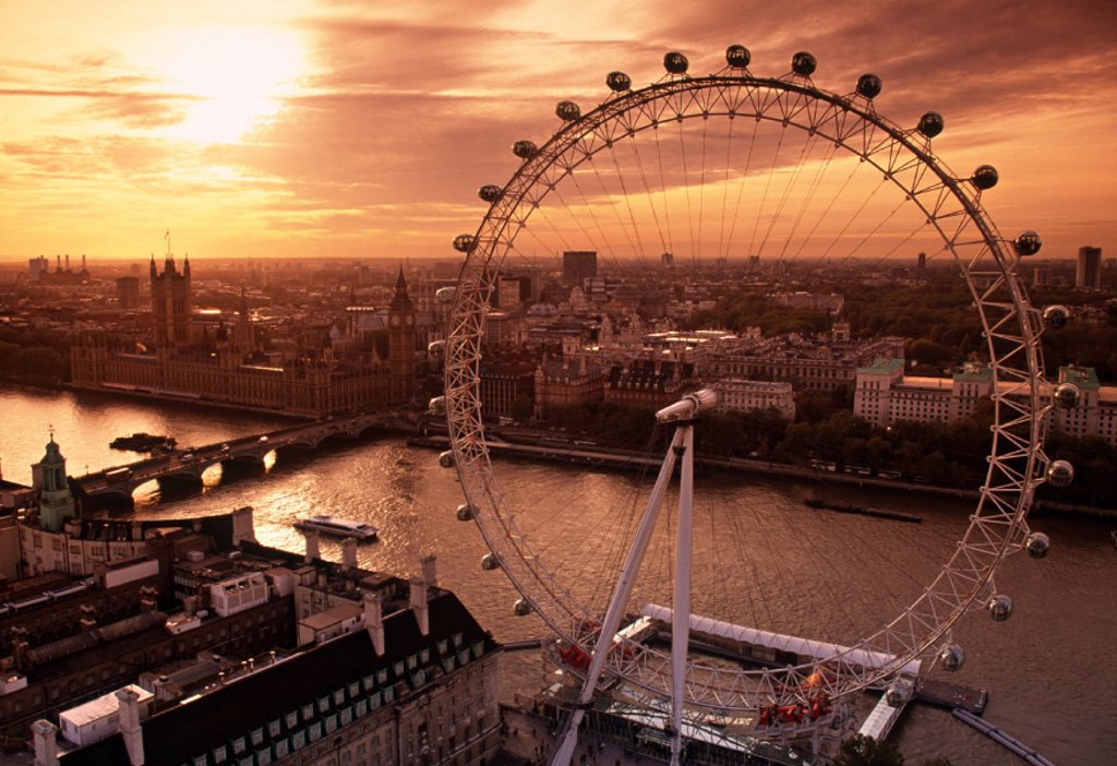 Stock Photo: 1609-10456 London Eye, London, England