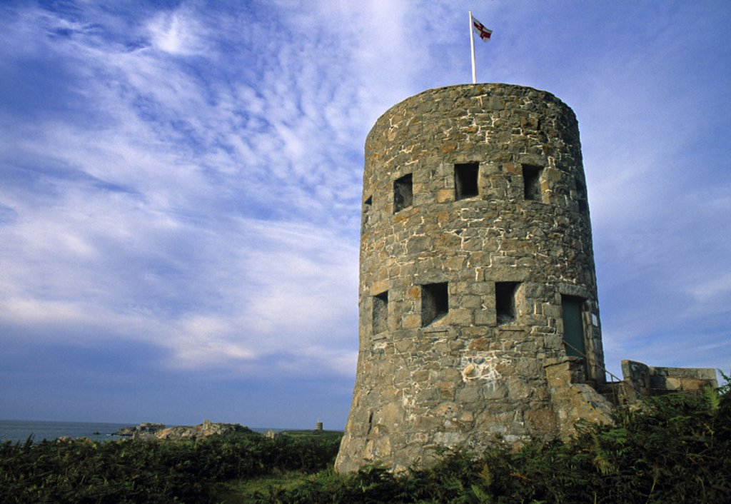 Stock Photo: 1609-10858 Guernsey Tower, Lancresse Bay, Guernsey, UK