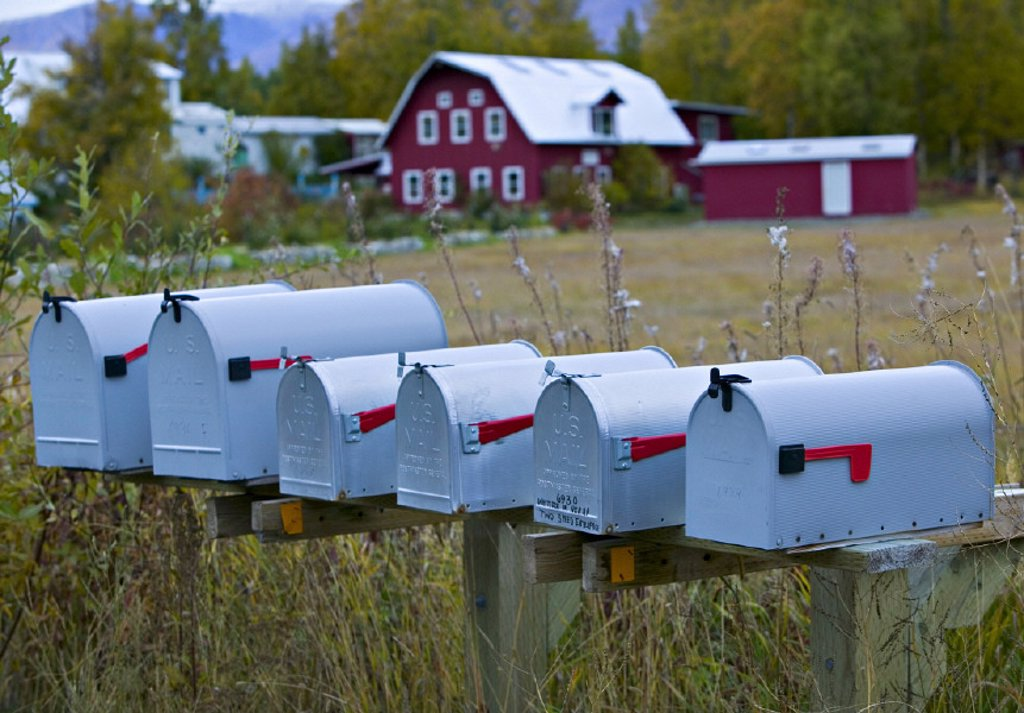 Stock Photo: 1609-11783 Mailboxes, Palmer, nr. Anchorage, Alaska, USA