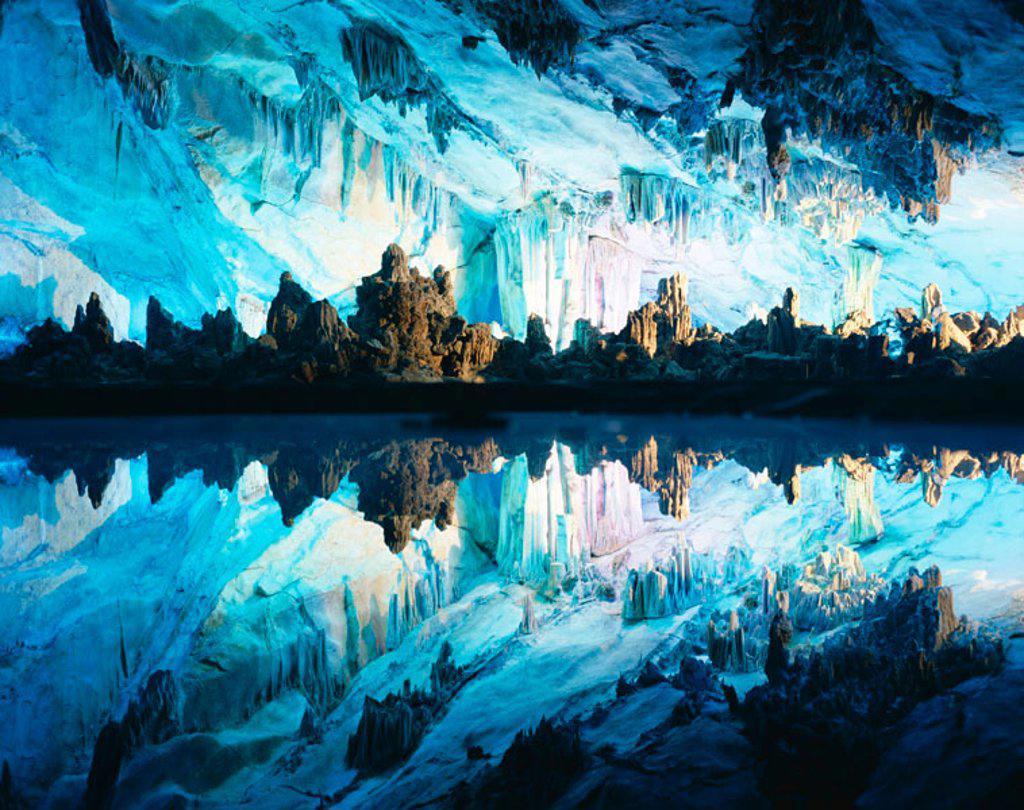 Reed Flute Cave / Stalactites & Stalagmites, Guilin, Guangxi Province, China : Stock Photo