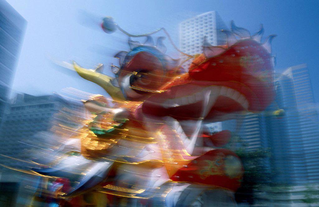 Stock Photo: 1609-12435 Chinese New Year / Dragon Dance, Hong Kong, China