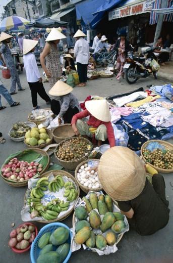 The Market / Local Produce / Papayas / Bananas, Cantho, Mekong Delta, Vietnam : Stock Photo