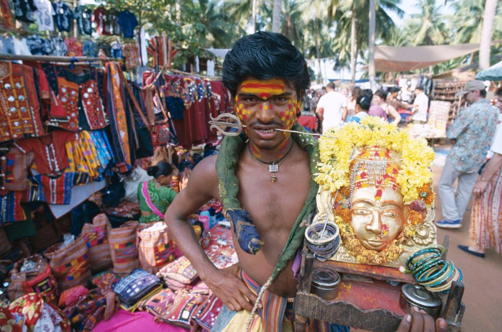 Stock Photo: 1609-12751 Anjuna Market / Holyman, Goa, India