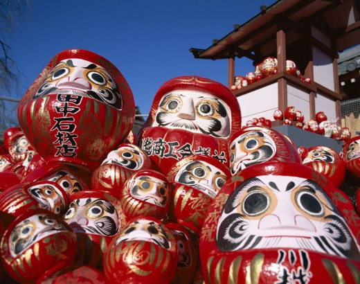New Year Festival / Daruma Dolls, Tokyo, Honshu, Japan : Stock Photo