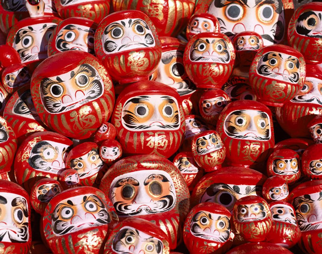 Stock Photo: 1609-12991 New Year Festival / Daruma Dolls, Tokyo, Honshu, Japan