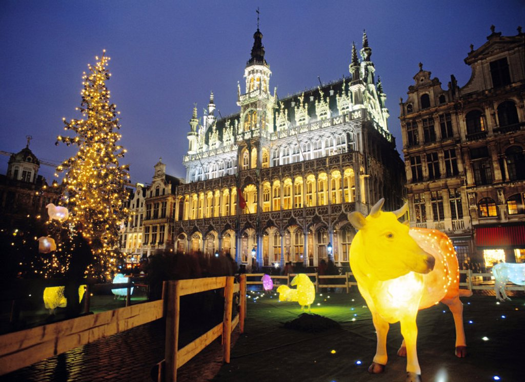 Stock Photo: 1609-1321 Grand Place at Christmas, Brussels, Belgium