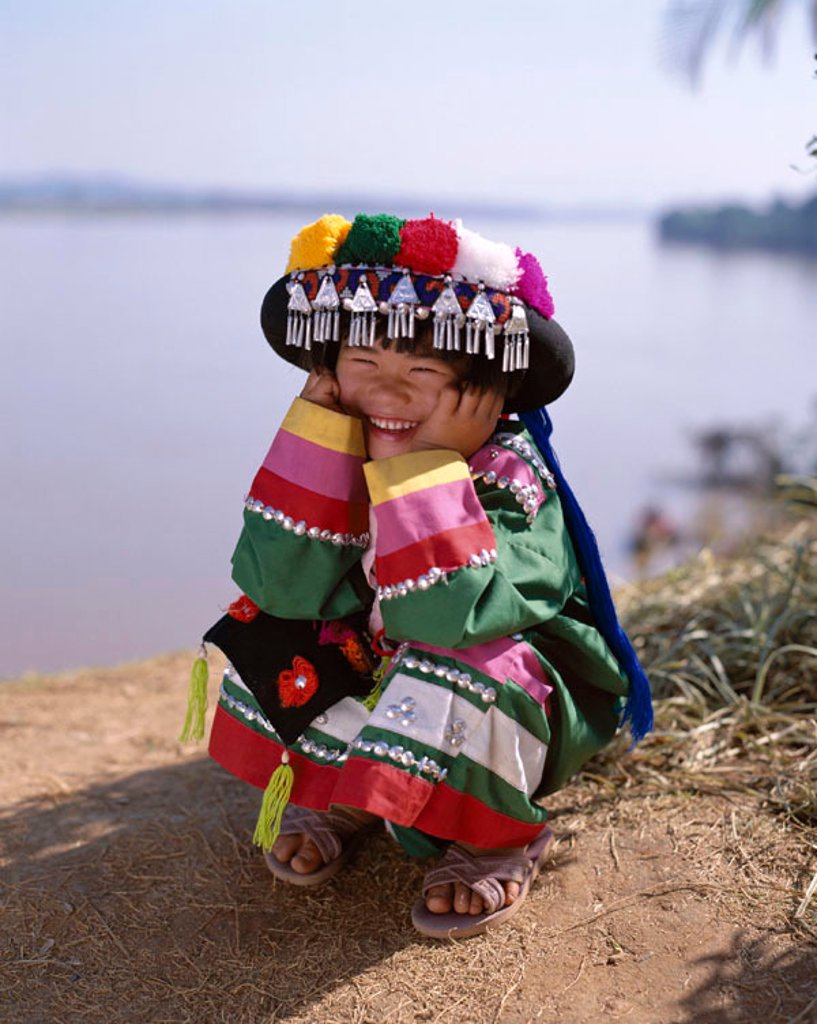 Hill Tribe People / Child / Young Girl Dressed in Ethnic Costume, Chiang Mai, Golden Triangle, Thailand : Stock Photo