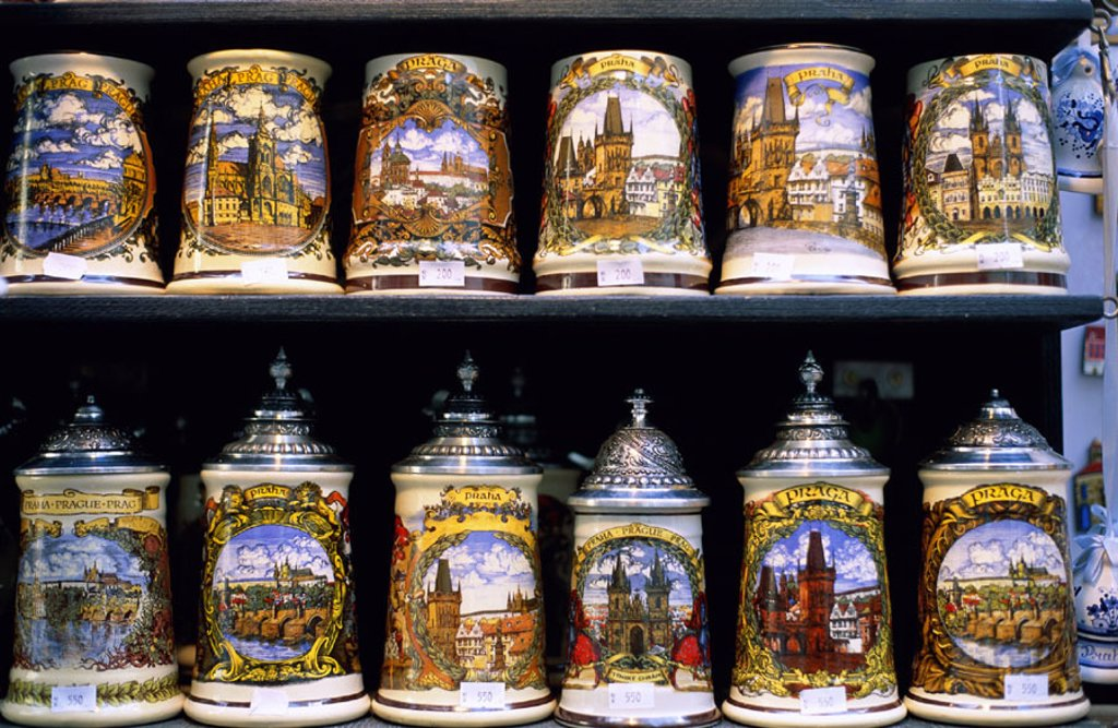 Stock Photo: 1609-14290 Display of Beer Steins, Prague, Czech Republic. Display of Beer Steins, Prague, Malta