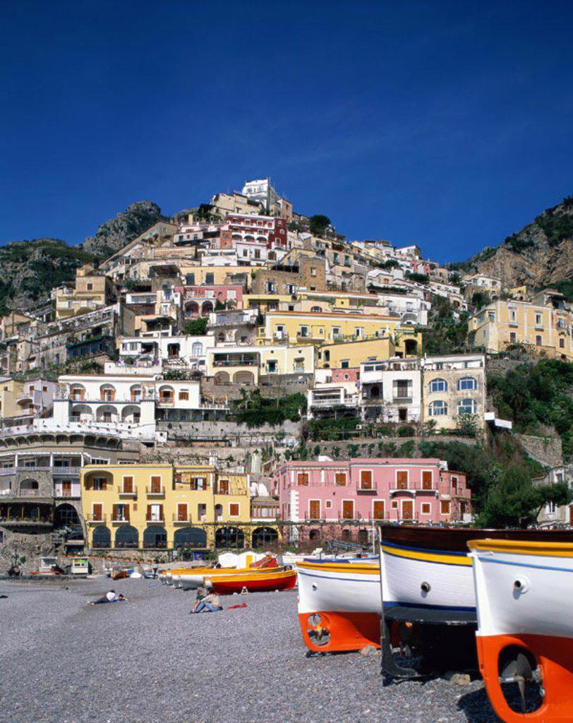 Amalfi Coast (Costiera Amalfitana) / Village & Beach, Positano, Campania, Italy : Stock Photo