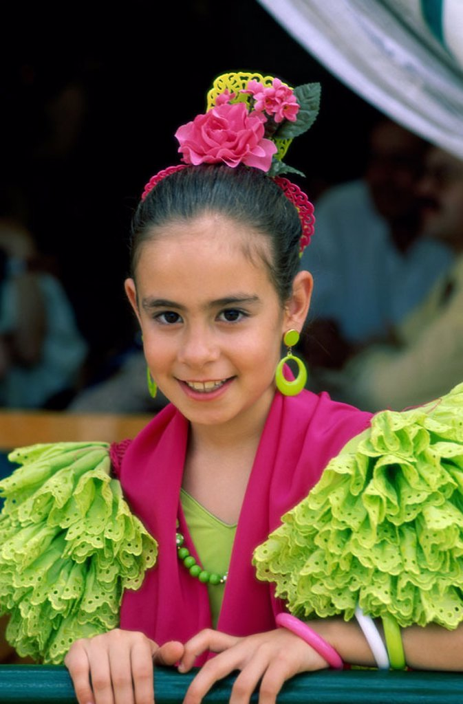 Stock Photo: 1609-15134 Fiesta / Horse Fair / Girl Dressed in Andalucian Costume, Jerez de la Frontera, Andalusia, Spain