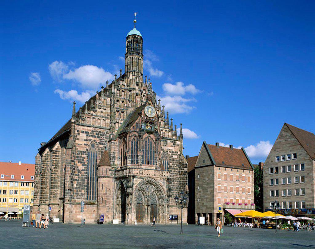 Market Square (Hauptmarkt) / Frauenkirche / Gothic Church, Nuremberg, Baveria / Franconia, Germany : Stock Photo