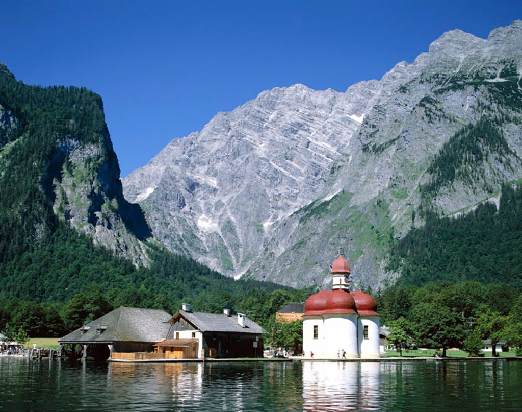 Stock Photo: 1609-15220 Konigssee Lake / St.Bartholoma Chapel & Alps Mountains, Baveria / Berchtesgadener Land, Germany