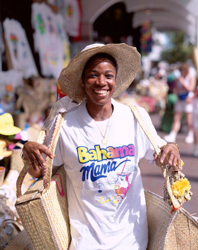 Straw Market / Caribbean Woman, Nassau, Bahamas, Caribbean Islands : Stock Photo
