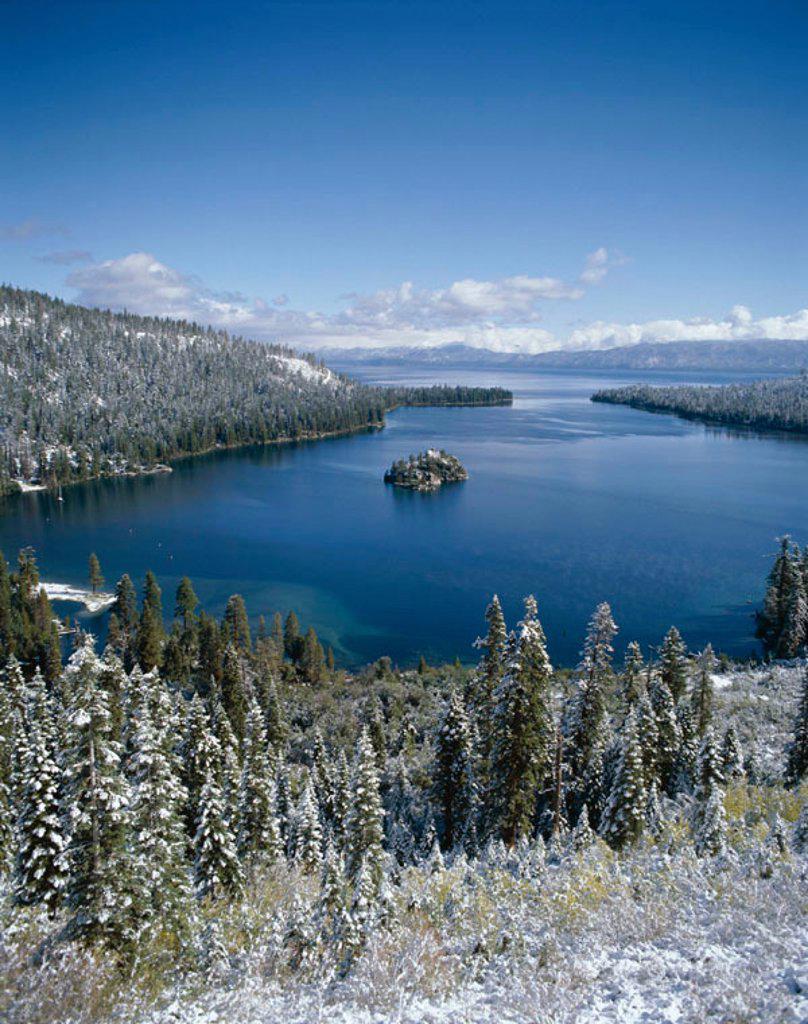 Lake Tahoe / Emerald Bay with Snow, Tahoe, California, USA : Stock Photo